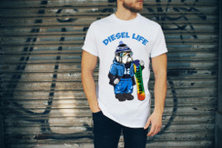 Diesel Life Logo Snowboard Bulldog Mens T-Shirt