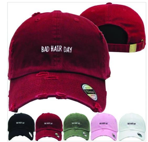 Bad Hair Dad Hat Distressed Baseball Cap Free 1 Location Text - Van ... 4ccf5043d81b