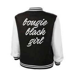 Bougi Black Girl  Just a Little Bougi Varsity Ladies Jacket