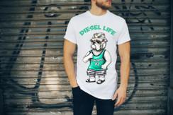 Diesel Life Logo Beach Bulldog Mens T-Shirt