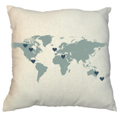 Family Map Design World 20 x 20 Zippered Cotton Pillow
