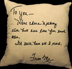 Love Custom Love Letter Pillow 20 x 20 Zippered Cotton Pillow