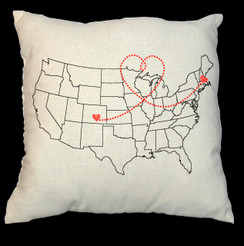 Love Map Design USA Map 20 x 20 Zippered Cotton Pillow