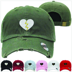 Broken Heart Dad Hat Distressed Baseball Cap  Free 1 Location Text
