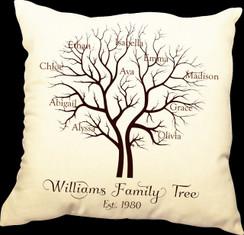 Family Tree 20 x 20 Zippered Cotton Pillow or 16 x 16 Version- Family Tree Design