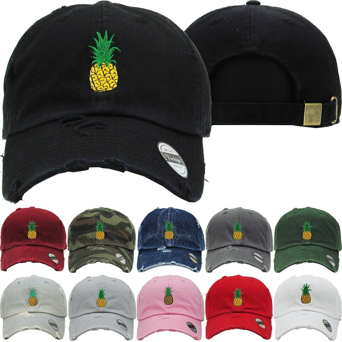 Pineapple Lemon Dad Hat Distressed Baseball Cap Free 1 Location Text ... a9a06323197