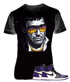 Air Jordan 1 Retro High Court Purple Sneaker, Scarface Black Tee