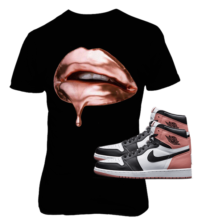 ce00504aa37f5d Air Jordan 1 High OG Retro White - Black Rust Pink Rose Gold Dripping on  Black. Price   25.00. Black Tee with Rust Pink Rose Gold Dripping Lips