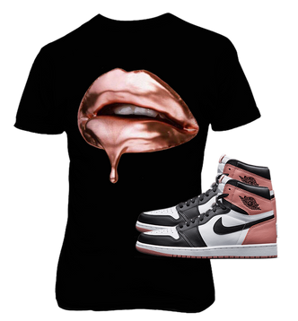 Black Tee with Rust Pink Rose Gold Dripping Lips