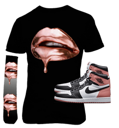 Air Jordan 1 High OG Retro White - Black Rust Pink  Rose Gold Dripping on Black