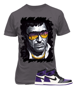 Air Jordan 1 Retro High Court Purple Sneaker, Scarface Grey Tee