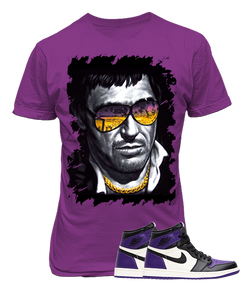 Air Jordan 1 Retro High Court Purple Sneaker, Scarface Purple Tee