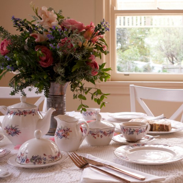 Charlotte High Tea Collection by Ashdene. Pretty fine bone china with dainty floral pattern on white