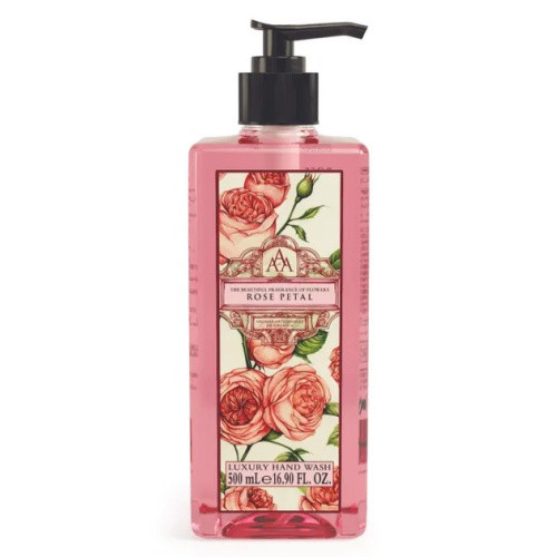Rose Petal Hand Wash AAA - Artesanales de Antigua Aromatherapy a pink pump bottle with rose petal hand wash and design of roses label