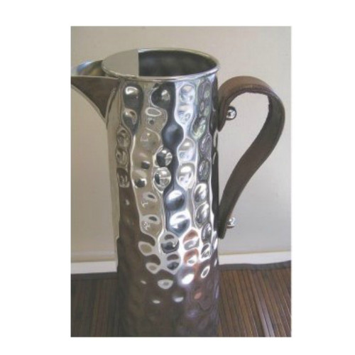 Bolt Hammered Water Jug with Leather Handle - with ice catcher. Stainless Steel 2.5L