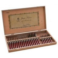 Laguiole 24 Piece Cutlery Set Wooden Gift Box by Jean Neron - Red