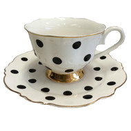 Blue Cadeaux Tea Cup and Saucer - White with black spot