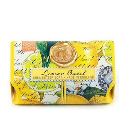 Lemon Basil Large Bath Soap by Michel Design Works.....Large bath soap in Lemon fragrance and designer art work on the detailed wrapping.