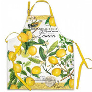 Apron with Lemon coloured waist ties, adjustable neck strap, lovely Lemon Basil design.