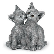 Comyns Sterling Silver:  Filled Figurine - Kittens Kissing 8 cm
