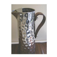 Bolt Hammered Water Jug with Leather Handle - with ice catcher. Stainless Steel 2.25L