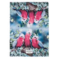 Australian Bird and Flora Tea Towel - with pretty Galahs on 100% cotton  by Ashdene