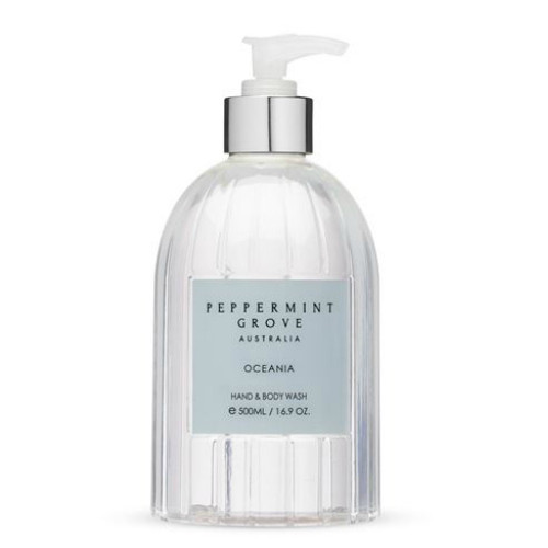 Peppermint Grove Hand and Body Wash - Oceania fragrance. In a clear round 500 ml pump bottle