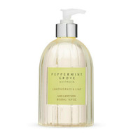 Peppermint Grove Hand and Body Wash - Lemongrass and Lime a round pump bottle with liquid hand wash