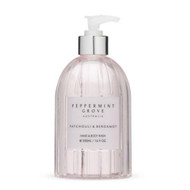 Peppermint Grove Hand and Body Wash - Patchouli and Bergamot. In a clear, round 500 ml pump bottle