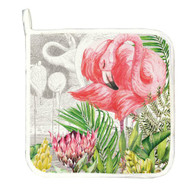square quilted pot holder edging with contrast bias and a loop for hanging. Flamingo design.