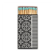 Black Florentine Matchbox by Michel Design Works - approx 50 matches with aqua coloured heads