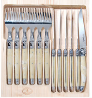 Light Horn is the timeless tradition of the Jean Dubost Laguiole. Steak Knife and Fork set comes with 6 forks and 6 steak knives packed in a timber box