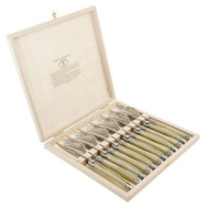 Laguiole 12 piece 2.5 mm Steak Knife and Fork Set - Light Horn by Jean Dubost - packed in a timber gift box