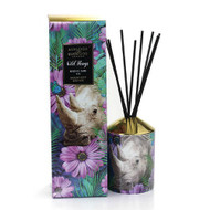 Wild Things Diffuser - Rhino Saw Us -  Lilac and Violets - Ashleigh and Burwood 200 ml fragance bottle and vessel with rhino and floral design and packaging