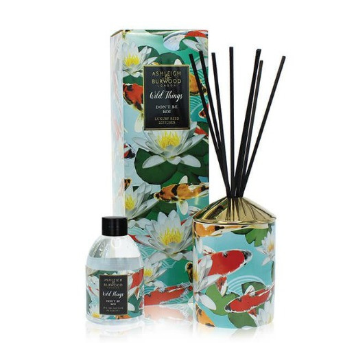 Wild Things Diffuser - Don't be Koi -  Moroccan Spice - Ashleigh and Burwood  200 ml fragrance bottle and vessel depicting Koi fish and water plants