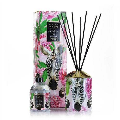 Wild Things Diffuser - I Zee you baby -  Peony Roses  - Ashleigh and Burwood - diffuser vessel with pictures of flowers and a zebra with fragrance bottle and reeds