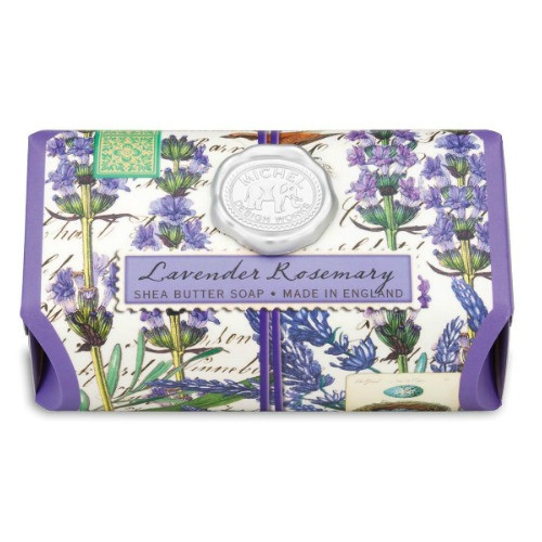 Lavender and Rosemary Large Bath Soap by Michel Design Works - large soap wrapped in designer print with lavender and rosemary spriggs
