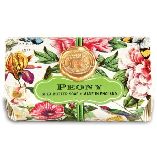 Peony Large Bath Soap by Michel Design Works bath soap bar wrapped in designer package showing pretty pink peonies and foliage