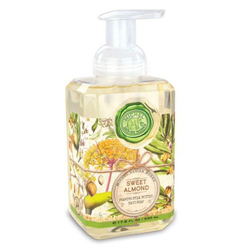 Sweet Almond Foaming Hand Soap by Michel Design Works 500 ml of fragrant foaming soap in a designer pump bottle with pale green and straw colours design label of almonds and pale yellow flowers