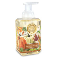 Fall Harvest Foaming Hand Soap by Michel Design Works. 530ml pump bottle of foaming soap with designer label of harvest pumpkins and autumm leaves.