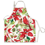 Poinsettia Apron by Michel Design Works 100% cotton apron with bright design of poinsettia flowers and cardinal birds.