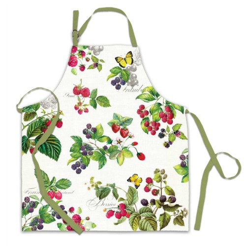 Berry Patch Apron by Michel Design Works 100% cotton apron with design of lucious berries on vines.