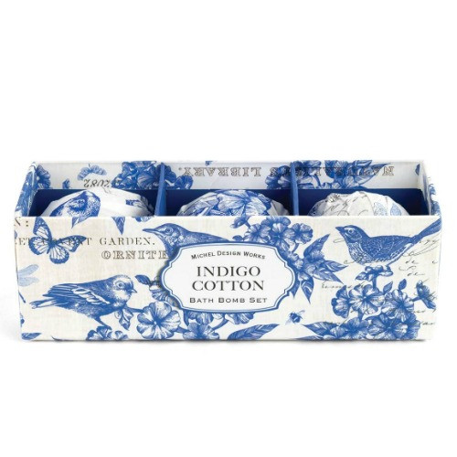 Indigo Cotton Bath Bomb Set by Michel Design Works - 3 Bombs 3 bath bombs wrapped in peony design foil nesting in a gift box