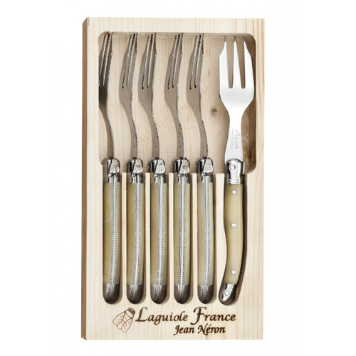 Laguiole 6 Piece Cake Fork Set by Jean Neron  Light Horn 6 light horn cake forks packed in a wooden crate
