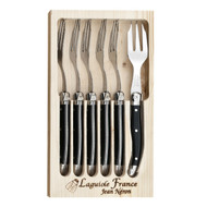 Laguiole 6 Piece Cake Fork Set by Jean Neron - Black 6 black cake forks packed in a wooden crate