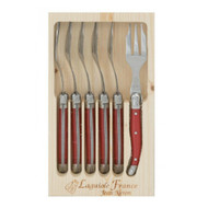 Laguiole 6 Piece Cake Fork Set by Jean Neron - Red 6 red cake forks packed in a wooden crate