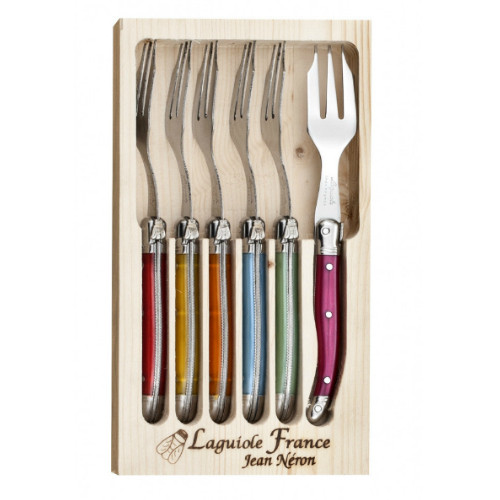 Laguiole 6 Piece Cake Fork Set by Jean Neron - Mixed Colour 6 mixed colour forks packed in a wooden crate