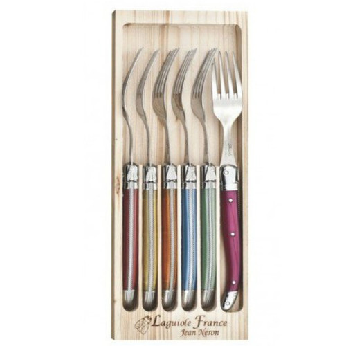 Laguiole 6 Piece Fork Set by Jean Neron - Mixed Colour 6 coloured handled stainless steel forks packed in a wooden crate