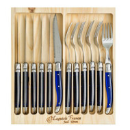 Laguiole 12 piece Cutlery Set by Jean Neron - French Blue Limited Edition 6 knives and 6 forks with blue handles packed in a wooden crate
