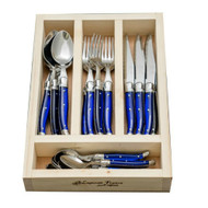 Laguiole 24 piece Cutlery Set by Jean Neron - French Blue Limited Edition - may come in timber gift box with lid 6 forks, 6 knives, 6 spoons, 6 teaspoons with blue handles presented in a wooden crate (or gift box with lid)